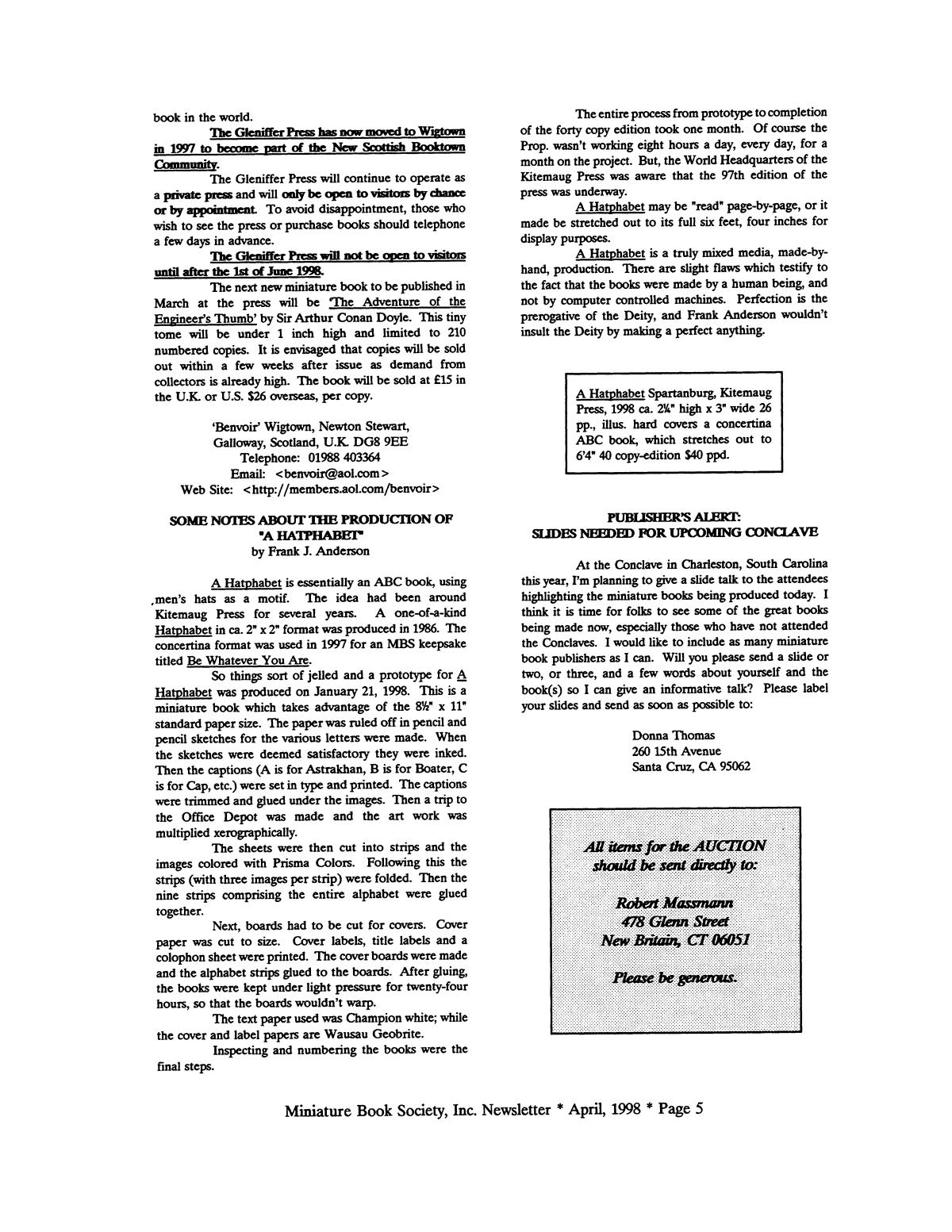 Miniature Book Society Newsletter 1998 April                                                                                                      5