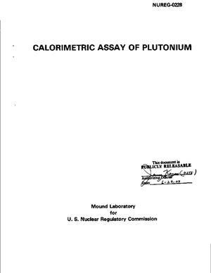 Primary view of object titled 'Calorimetric Assay Of Plutonium'.
