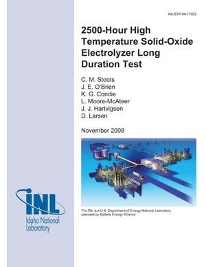 Primary view of object titled '2500-Hour High Temperature Solid-Oxide Electrolyzer Long Duration Test'.
