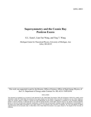 Primary view of object titled 'Supersymmetry and the Cosmic Ray Positron Excess'.
