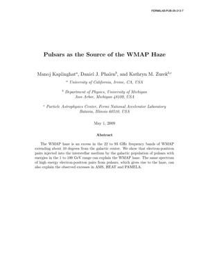 Primary view of object titled 'Pulsars as the Source of the WMAP Haze'.