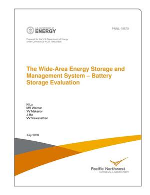Primary view of object titled 'The Wide-Area Energy Storage and Management System – Battery Storage Evaluation'.