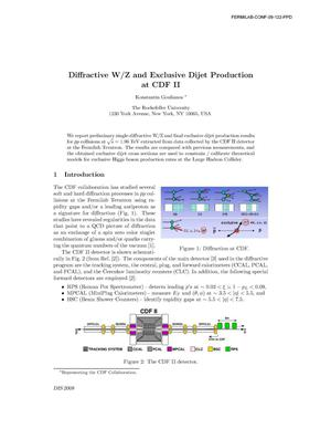 Primary view of object titled 'Diffractive W/Z and exclusive dijet production at CDF II'.