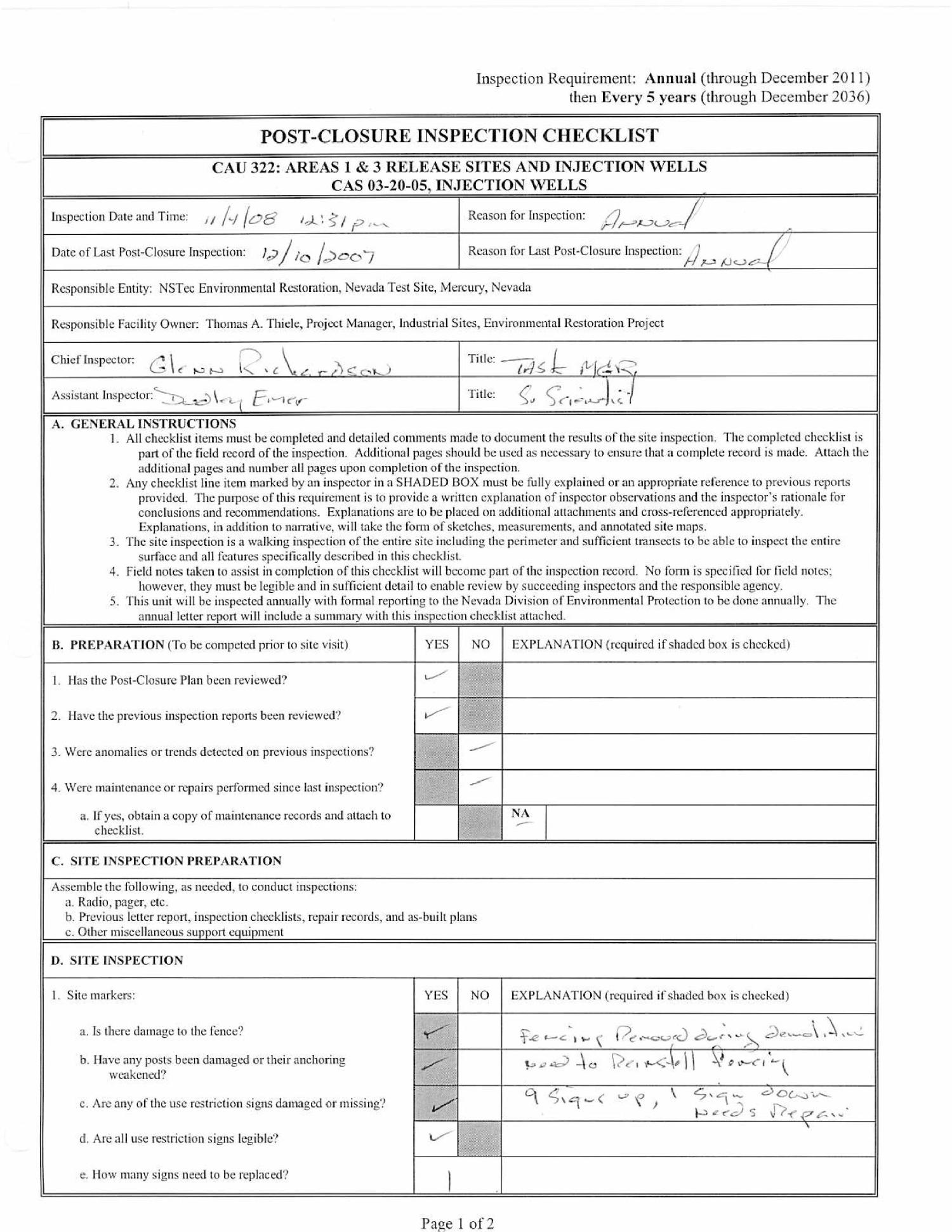 Post-Closure Inspection Letter Report for Corrective Action
