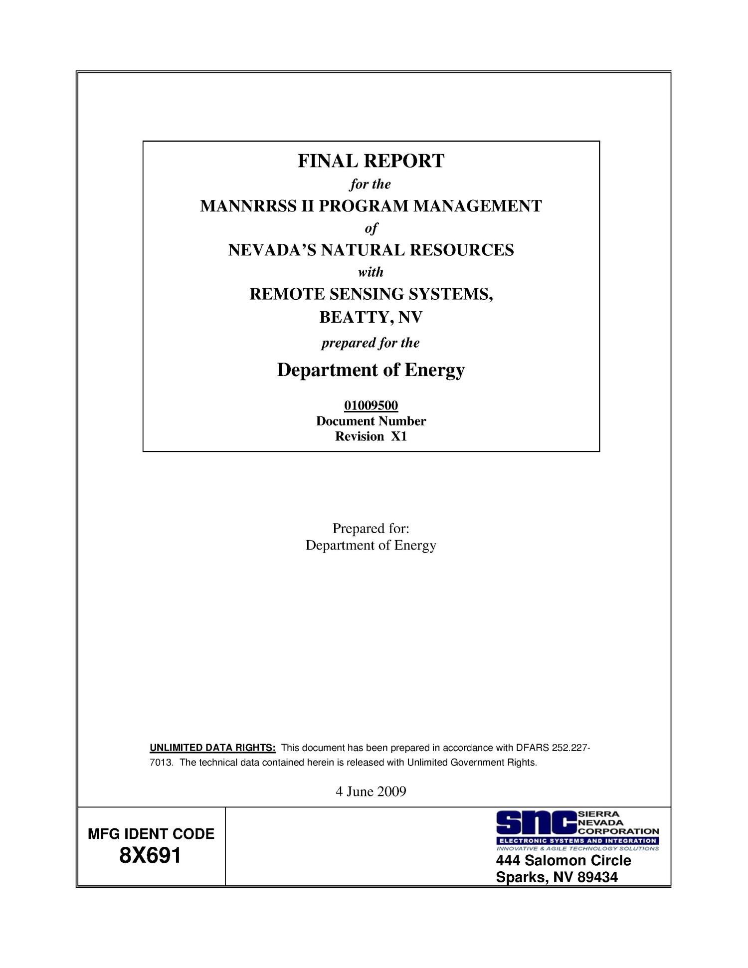 Final Report for the MANNRRSS II Program Management of