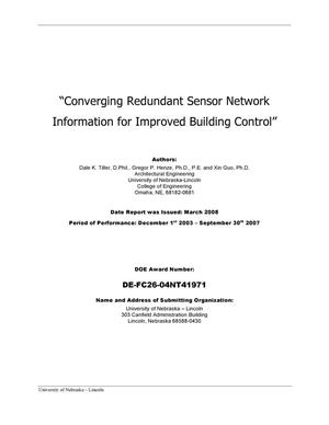 Primary view of object titled 'Converging Redundant Sensor Network Information for Improved Building Control'.