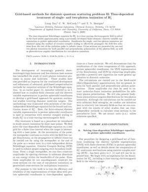 Primary view of object titled 'Grid-based methods for diatomic quantum scattering problems II: Time-dependent treatment of single- and two-photon ionization of H2+'.