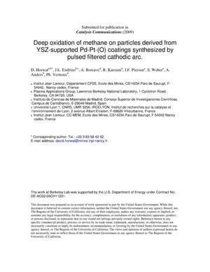 Primary view of object titled 'Deep oxidation of methane on particles derived from YSZ-supported Pd-Pt-(O) coatings synthesized by pulsed filtered cathodic arc'.