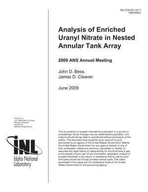 Primary view of object titled 'Analysis of Enriched Uranyl Nitrate in Nested Annular Tank Array'.