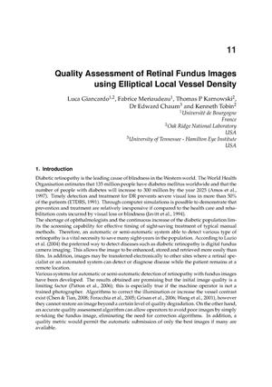 Primary view of object titled 'Quality Assessment of Retinal Fundus Images using Elliptical Local Vessel Density'.