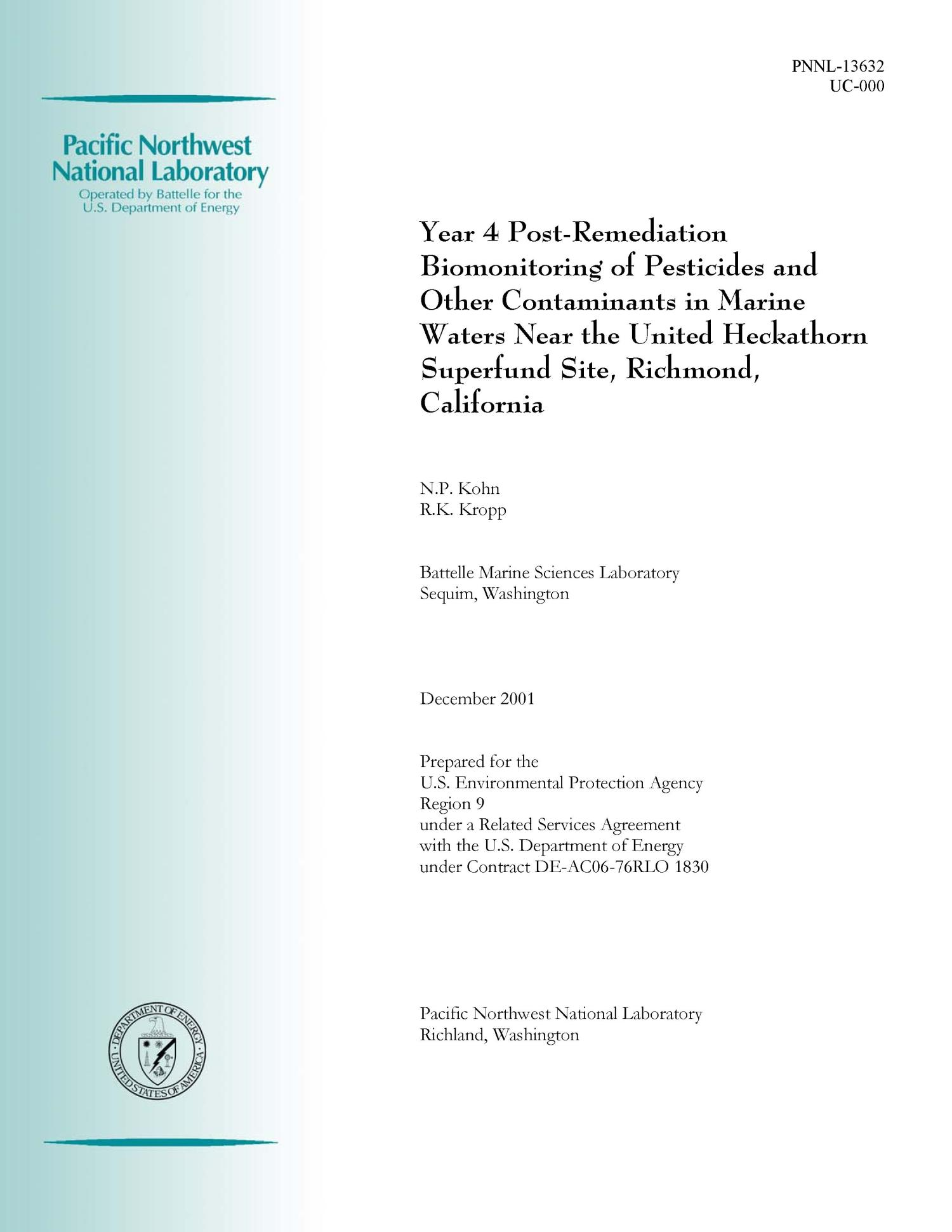 Year 4 Post-Remediation Biomonitoring of Pesticides and Other Contaminants in Marine Waters Near the United Heckathorn Superfund Site, Richmond, California                                                                                                      [Sequence #]: 1 of 59