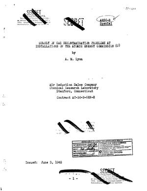 Primary view of object titled 'Survey of Gas Decontamination Problems at Installations of the Atomic Energy Commission'.