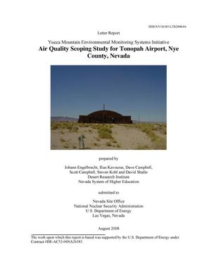Primary view of object titled 'Letter Report Yucca Mountain Environmental Monitoring Systems Initiative - Air Quality Scoping Study for Tonopah Airport, Nye County, Nevada'.