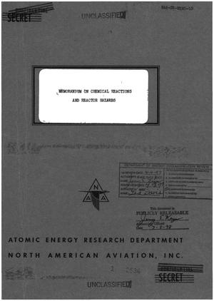 Primary view of object titled 'Memorandum on Chemical Reactors and Reactor Hazards'.