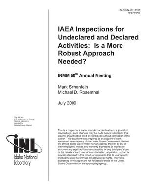 Primary view of object titled 'IAEA Inspections for Undeclared and Declared Activities: Is a More Robust Approach Needed?'.