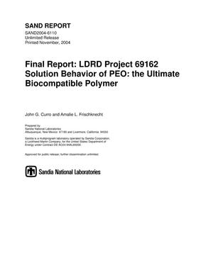 Primary view of object titled 'Solution behavior of PEO : the ultimate biocompatible polymer.'.