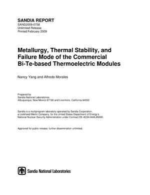Primary view of object titled 'Metallurgy, thermal stability, and failure mode of the commercial Bi-Te-based thermoelectric modules.'.