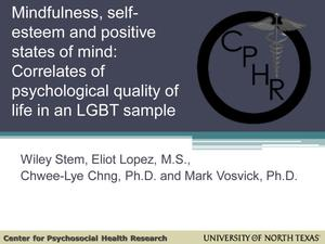 Primary view of object titled 'Mindfulness, Self-Esteem and Positive States of Mind: Correlates of Mental Health in LGBT Individuals'.