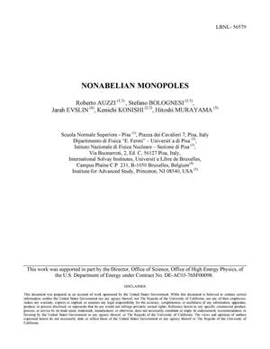 Primary view of object titled 'Nonabelian Monopoles'.
