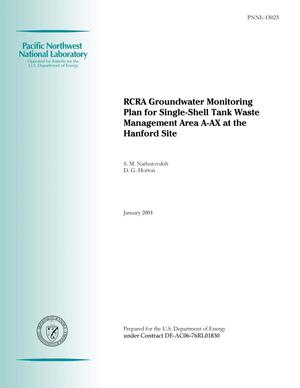 Primary view of object titled 'RCRA Groundwater Monitoring Plan for Single-Shell Tank Waste Management Area A-AX at the Hanford Site'.