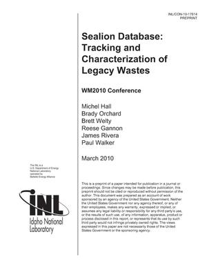 Primary view of object titled 'Sealion Database: Tracking and Characterization of Legacy Wastes'.