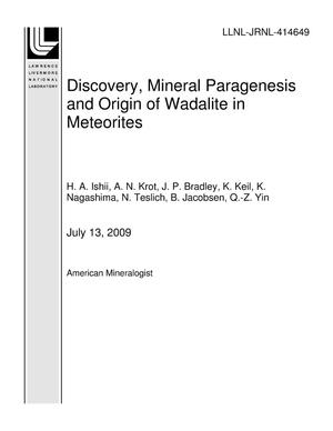 Primary view of object titled 'Discovery, Mineral Paragenesis and Origin of Wadalite in Meteorites'.