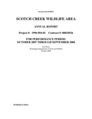 Primary view of object titled 'Scotch Creek Wildlife Area 2007-2008 Annual Report.'.