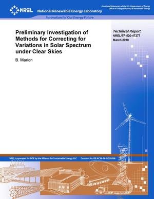 Primary view of object titled 'Preliminary Investigation of Methods for Correcting for Variations in Solar Spectrum under Clear Skies'.