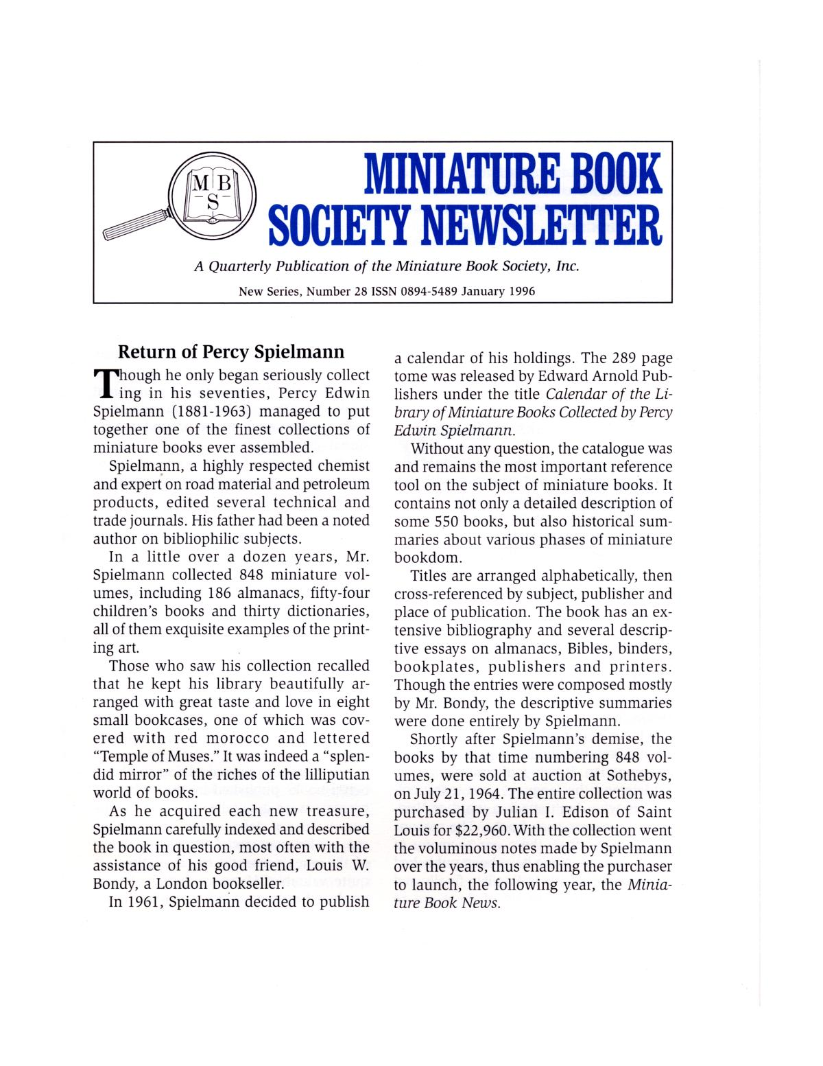 Miniature Book Society Newsletter 1996 January                                                                                                      1