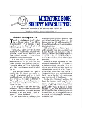 Primary view of object titled 'Miniature Book Society Newsletter 1996 January'.
