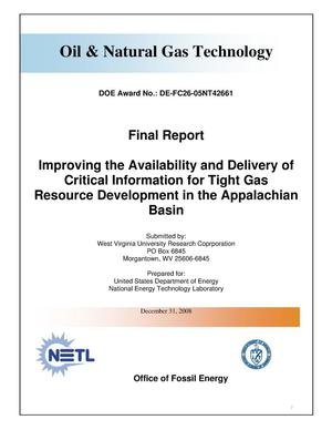 Primary view of object titled 'Improving the Availability and Delivery of Critical Information for Tight Gas Resource Development in the Appalachian Basin'.