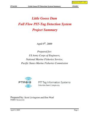 Primary view of object titled 'Little Goose Dam Full Flow PIT-Tag Detection System Project Summary.'.