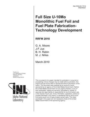 Primary view of object titled 'FULL SIZE U-10MO MONOLITHIC FUEL FOIL AND FUEL PLATE FABRICATION-TECHNOLOGY DEVELOPMENT'.