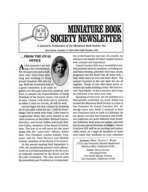 Primary view of object titled 'Miniature Book Society Newsletter 1995 October'.