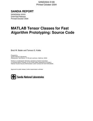 Primary view of object titled 'MATLAB tensor classes for fast algorithm prototyping : source code.'.