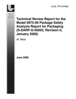 Primary view of object titled 'Technical Review Report for the Model 9975-96 Package Safety Analysis Report for Packaging (S-SARP-G-00003, Revision 0, January 2008)'.