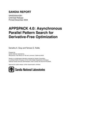 Primary view of object titled 'APPSPACK 4.0 : asynchronous parallel pattern search for derivative-free optimization.'.