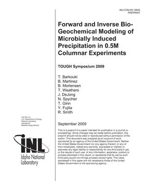 Primary view of object titled 'FORWARD AND INVERSE BIO-GEOCHEMICAL MODELING OF MICROBIALLY INDUCED PRECIPITATION IN 0.5M COLUMNAR EXPERIMENTS'.