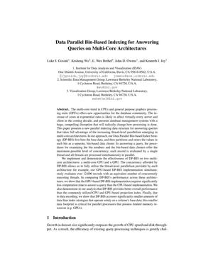 Primary view of object titled 'Data Parallel Bin-Based Indexing for Answering Queries on Multi-Core Architectures'.