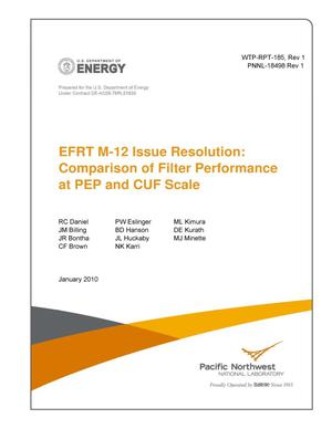 Primary view of object titled 'EFRT M-12 Issue Resolution: Comparison of Filter Performance at PEP and CUF Scale'.