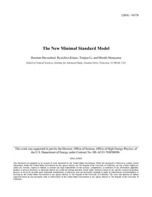 Primary view of object titled 'The New Minimal Standard Model'.