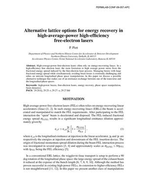 Primary view of object titled 'Alternative lattice options for energy recovery in high-average-power high-efficiency free-electron lasers'.