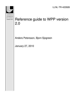Primary view of object titled 'Reference guide to WPP version 2.0'.