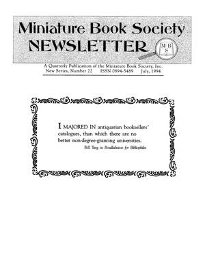 Primary view of object titled 'Miniature Book Society Newsletter 1994 July'.