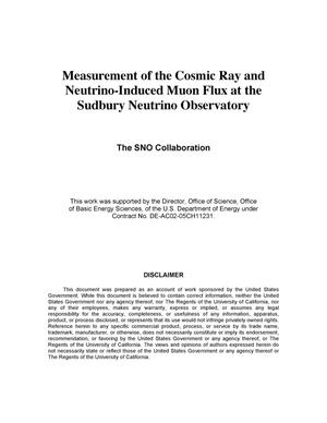 Primary view of object titled 'Measurement of the Cosmic Ray and Neutrino-Induced Muon Flux at the Sudbury Neutrino Observatory'.
