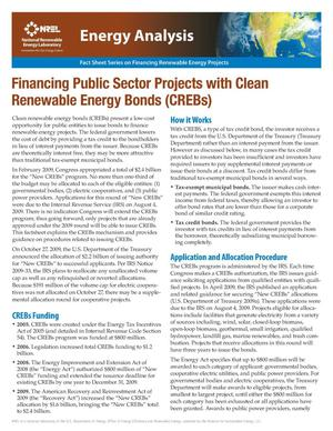 Primary view of object titled 'Financing Public Sector Projects with Clean Renewable Energy Bonds; Fact Sheet Series on Financing Renewable Energy Projects, National Renewable Energy Laboratory (NREL)'.