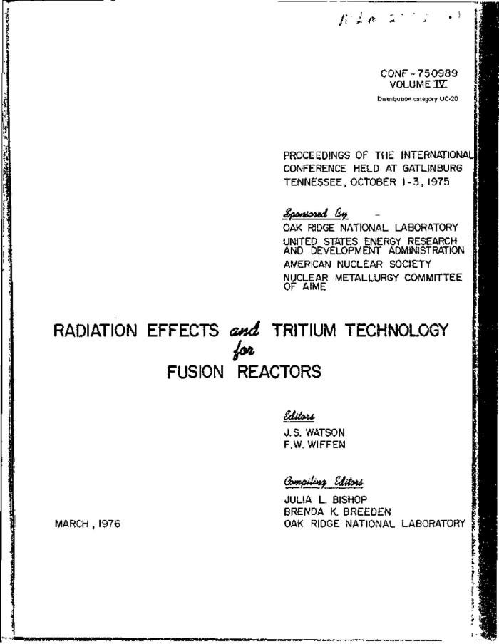 Primary View Of Object Titled U0027The Uranium Tritium System   The Storage Of  Tritium