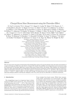Primary view of object titled 'Charged Kaon Mass Measurement using the Cherenkov Effect'.