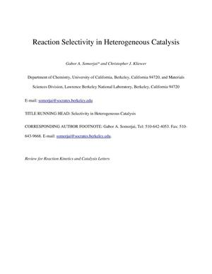 Primary view of object titled 'Reaction Selectivity in Heterogeneous Catalysis'.