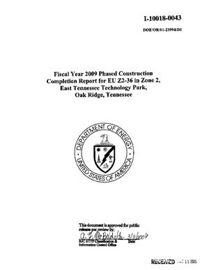 Primary view of object titled 'Fiscal Year 2009 Phased Construction Completion Report for EU Z2-36 in Zone 2, East Tennessee Technology Park, Oak Ridge, Tennessee'.